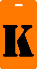 "Luggage Tag - Upper Case ""K"" - Orange/Black - Inventive Travelware"