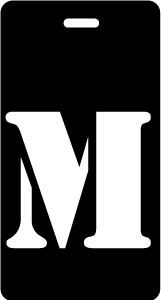 "Luggage Tag - Upper Case ""M"" - Black/White - Inventive Travelware"