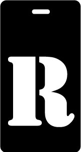 "Luggage Tag - Upper Case ""R"" - Black/White - Inventive Travelware"