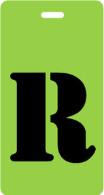 "Luggage Tag - Upper Case ""R"" - Lime/Black - Inventive Travelware"