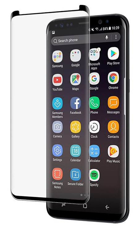 EFM Curved Sapphire Glass Screen Armour Samsung Galaxy S9+ Plus - Clear/Black Frame