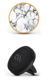 Case-Mate Car Charm with Magnetic Car Mount - White Marble