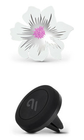 Case-Mate Car Charm with Magnetic Car Mount - White Silver Flower
