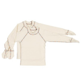 Scratch mittens pajama top in organic cotton.