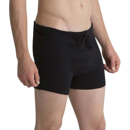 Drawstring boxers are hypoallergenic and feature soft 100% organic cotton.