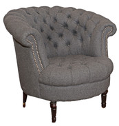 Tufted Gray Wool Tub Chair