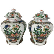Pair of Samson Famille Verte Temple Jars