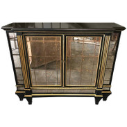 Maison Jsnsen Style Neoclassical Ebonized and Gilt Mirrored Cabinet