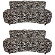 Two Custom Midcentury Kagan Style Zebra Pattern Sofas