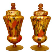 Vintage Czech Art Glass Lamps - A Pair