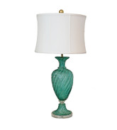 Vintage Italian Murano Teal Glass Lamp Acrylic Base