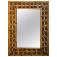 Midcentury Bamboo and Inset Chrome Mirror