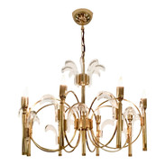 1960s Italian Brass and Glass Chandelier