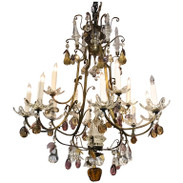 Italian Bronze and Fruit Crystal Eight-Light Chandelier