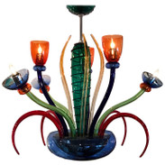 Colorful Italian Artimede Ve-Art Glass Chandelier in the Manner of Gio Ponti