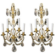 Pair of Baguès Rock Crystal Sconces
