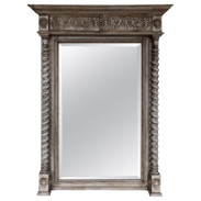 French Grey Painted Neoclassical Tall Mirror