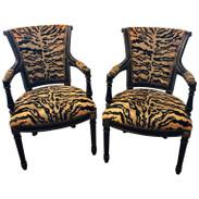 Pair of Maison Jansen Style Ebonized Directoire Leopard Print Armchairs