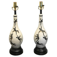 Pair of Italian Midcentury Figural Lamps, in the Manner of Ernestine