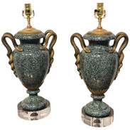 Pair of Louis XV Style Ormolu Mounted Verdigris Marble Urns, Now as Lamps