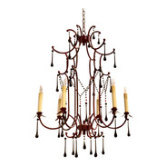 Asian Style Arteriors Red Pagoda Chandelier