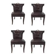 Global Views Dark Chocolate Leather Casino Klismos Chairs Set of Four