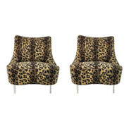 Currey & Co. Tear Drop Leopard Print Modern Chairs