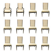 Black and Gold Hickory White Regency Style Dining Chairs Set of 12