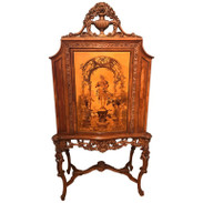 French Carved Marquetry Cabinet or Bar
