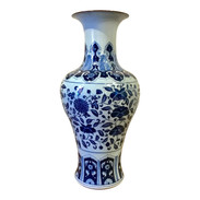 Large Transitional Blue and White Crackle Porcelain Vase