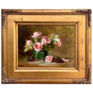 Roses in a Green Chinese Export Jar Still Life by, Lucy Mazzaferro