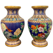 Pair of Chinese Cloisnonne Vases, Bird and Flower Motif