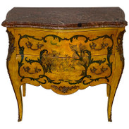 Fine Italian Piranesi Topographical Polychromed Marble Top Commode