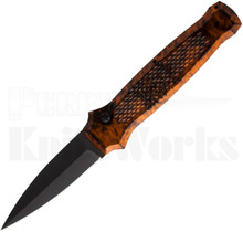 Piranha Prowler Automatic Knife Orange Marble l Tactical Black Blade