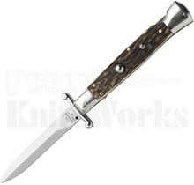 "AGA Campolin 9"" Stiletto Automatic Swinguard Knife Stag Horn"