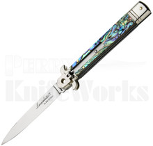 "AKC Bill DeShivs 9"" Leverletto Automatic Knife Abalone l For Sale"