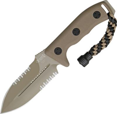 Microtech Crosshair Tan Serrated Double edge Knife