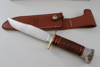 Hess Knifeworks Stacked Leather Frontiersman Knife