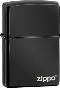 Zippo Ebony Black Lighter With Logo