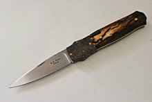 W.D. Pease Custom Mammoth Ivory Side Lock Folder Knife (Satin)