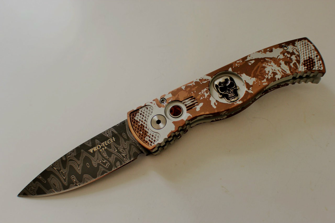 Protech Custom TR-2 Skull P K  Splash Automatic Knife (Damascus)