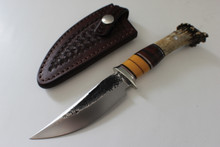 "James Behring Jr 4-1/2"" Custom Crown Stag Hunter Knife"
