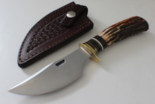 "James Behring Jr 4-1/2"" Stag Finger Grip Hunter Knife"