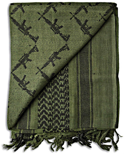 Grindworx Shemagh Crossed Guns OD Green