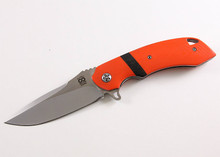 Olamic Cutlery Wayfarer Orange Linerlock Flipper Knife (Satin/Matte)