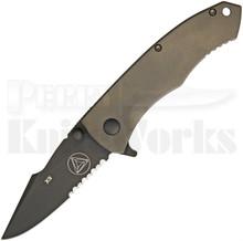 Combative Edge X9 Bronze Framelock Flipper Knife (Black Serr)