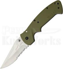 CRKT Crawford Kasper Green Zytel Linerlock Knife (Satin Serrated)
