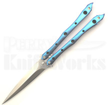 Kyle Vallotton Custom Stinger Dark Blue Butterfly Knife (Satin)