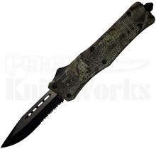 Heretic Woodland Camo D/A OTF Automatic Knife 2-Tone Serrated