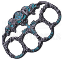 Master Cutlery Skulls Belt Buckle Knuckles PK-2445BL